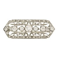 Platinum Art Deco 2.50 Carat Diamond Bar Brooch