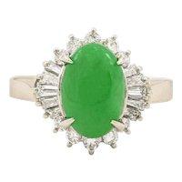 Platinum 2.64 Carat Jade & Diamond Cluster Ring