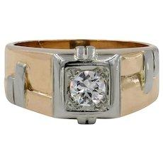 14 Karat Rose Gold & 18 Karat White Gold Diamond Unisex Ring