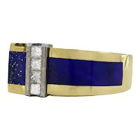 18 Karat Yellow Gold, Meteorite Lapis and Diamond Men's Ring