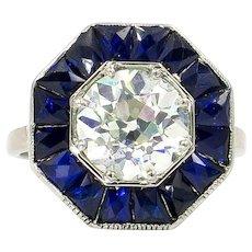Art Deco 2.67 Carat Old European Cut Diamond Ring with Sapphire Halo | Platinum and 18 Karat White Gold