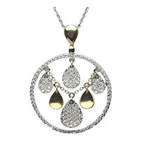 18 Karat Gold Two Tone Diamond Pendant