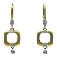 Artisan Two Tone Gold and Diamond Cushion Shaped Drop Earrings