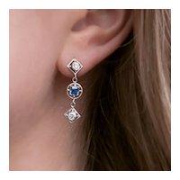Platinum Diamond and Sapphire Dangle Earrings