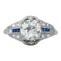 Platinum Art Deco Old European Cut Diamond and Sapphire Ring