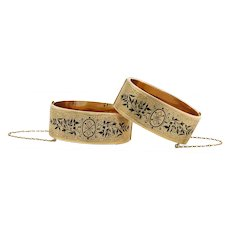 Victorian Hinged Bangles with Taille D'Epargne Designs | 14 Karat Yellow Gold
