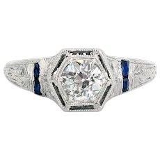 Art Deco 0.49 Carat Diamond and Sapphire Ring | Platinum
