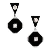 Platinum & 14 Karat White Gold Onyx & Diamond Earrings