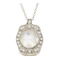 Platinum Moonstone & Diamond Pendant