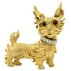 18 Karat Yellow Gold Yorkie & Diamond Brooch