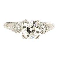 Platinum 1.03 Carat Old European Cut Diamond Engagement Ring, GIA
