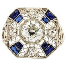 Platinum 1.21 Carat Diamond & Synthetic Sapphire Ring