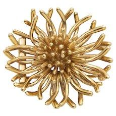 Tiffany 14 Karat Yellow Gold Anemone Brooch