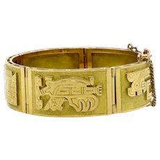 Mayan Design Wide Five Panel Bracelet | 18 Karat Yellow Gold