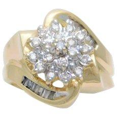 Mid-Century 14k Gold Diamond Cluster Ring