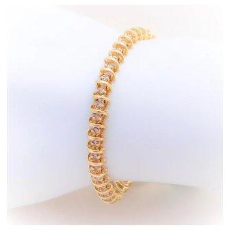 1ct Diamond 14k S-Link Tennis Bracelet
