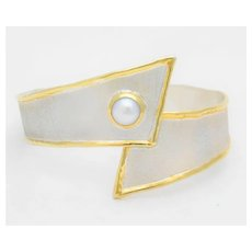 Greek Hand Crafted 950 Silver and 24k Gold Adjustable Bangle Bracelet with Freshwater Pearl