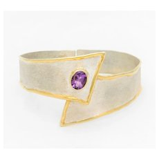 Hand Crafted 950 Silver and 24k Adjustable Bangle Bracelet with Oval Faceted Amethyst