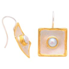 Greek Hand Crafted 950 Silver and 24k Gold Freshwater Pearl Dangle Earrings