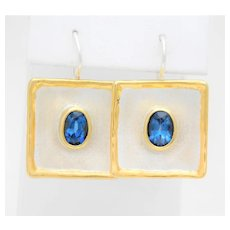 Greek Hand Crafted 950 Silver and 24k Blue Topaz Dangle Earrings
