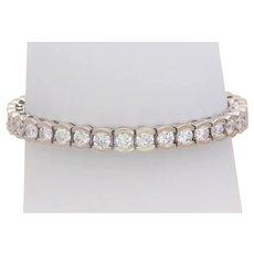 12.60ct Natural Round Brilliant Diamond Tennis Bracelet in 18k White Gold