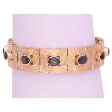 Vintage 10k Gold Black Star Sapphire Florentine Bracelet