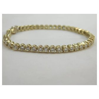 14 karat Yellow Gold 3 ½ carat Diamond Tennis Bracelet