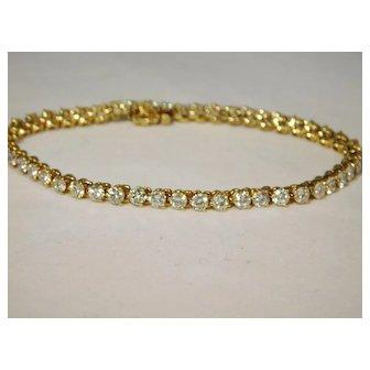18 karat Yellow Gold 5ct Diamond Tennis Bracelet