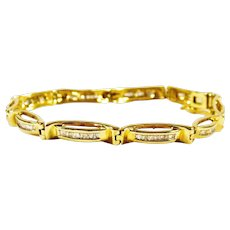 Stunning 14k Gold and Diamond Tennis Bracelet