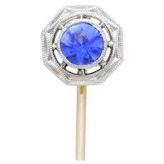 Edwardian 14k White Gold Hat Pin with European-Cut Tanzanite