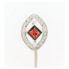 Edwardian 14k White Gold Garnet and Pearl Hat Pin