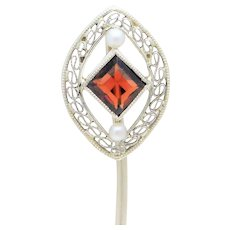 Edwardian 14k White Gold Garnet and Pearl Hat Pin