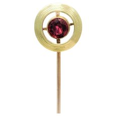 Edwardian 10k Gold Pink Ruby Hat Pin