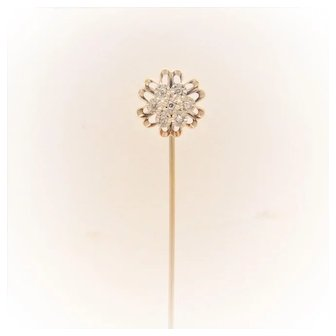 Edwardian 14k Gold Diamond Hat Pin
