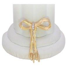 Signed J & C Ferrara Vintage 14k Gold and Diamond Bow Brooch