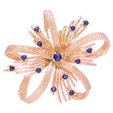 Mid Century 14k Gold and Sapphire Brooch