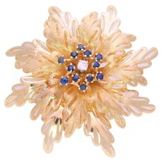 Mid Century 14k Gold Diamond and Sapphire Floral Brooch