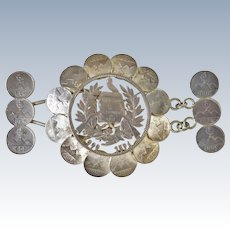 Handcrafted Belt Buckle Made from Silver Guatemalan Coins