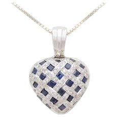 Vintage Heart-Shaped 18k White Gold Diamond and Blue Sapphire Detachable Enhancer Pendant