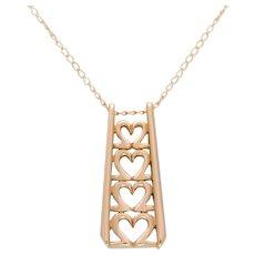 Vintage 14k Gold Graduating Heart Themed Pendant Necklace