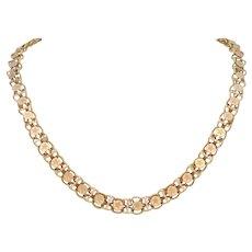 Hand Made Vintage 14k Gold Star Designed Link Necklace