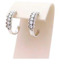 14k White Gold 1ct Diamond Hoop Earrings