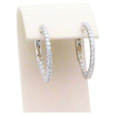 1.40ct Inside/Out Diamond Hoops Earrings