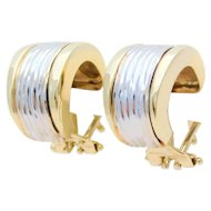 Italian Crafted 14k Two Tone White and Yellow Gold Hoop Earrings