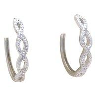 Sterling Silver and Diamond Twisted Hoop Earrings