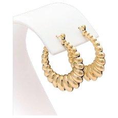 Vintage 14k Gold Retro Designed Hoop Earrings