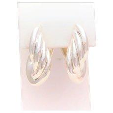 Vintage Sterling Silver Graduating Oval Hoop Earrings