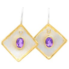 Greek Hand Crafted 950 Silver and 24k Gold Diamond and Amethyst Dangle Earrings