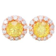 5ct Halo-Style Vivid Canary Yellow Diamond Stud Earrings
