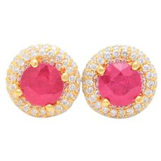 5.50ct Halo-Style Ruby and Diamond Stud Earrings